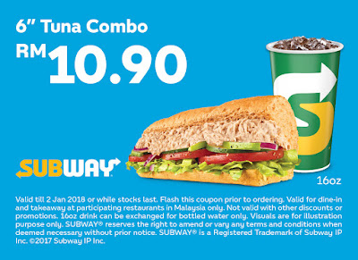 "Subway Voucher: 6"" Tuna Combo RM10.90"