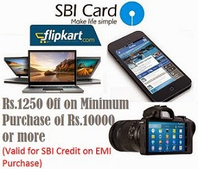 Flat Rs.1250 Off for SBI Credit Card against Min Purchase of Rs.10000 or more on EMI @ Flipkart (Valid till 8th March'15)