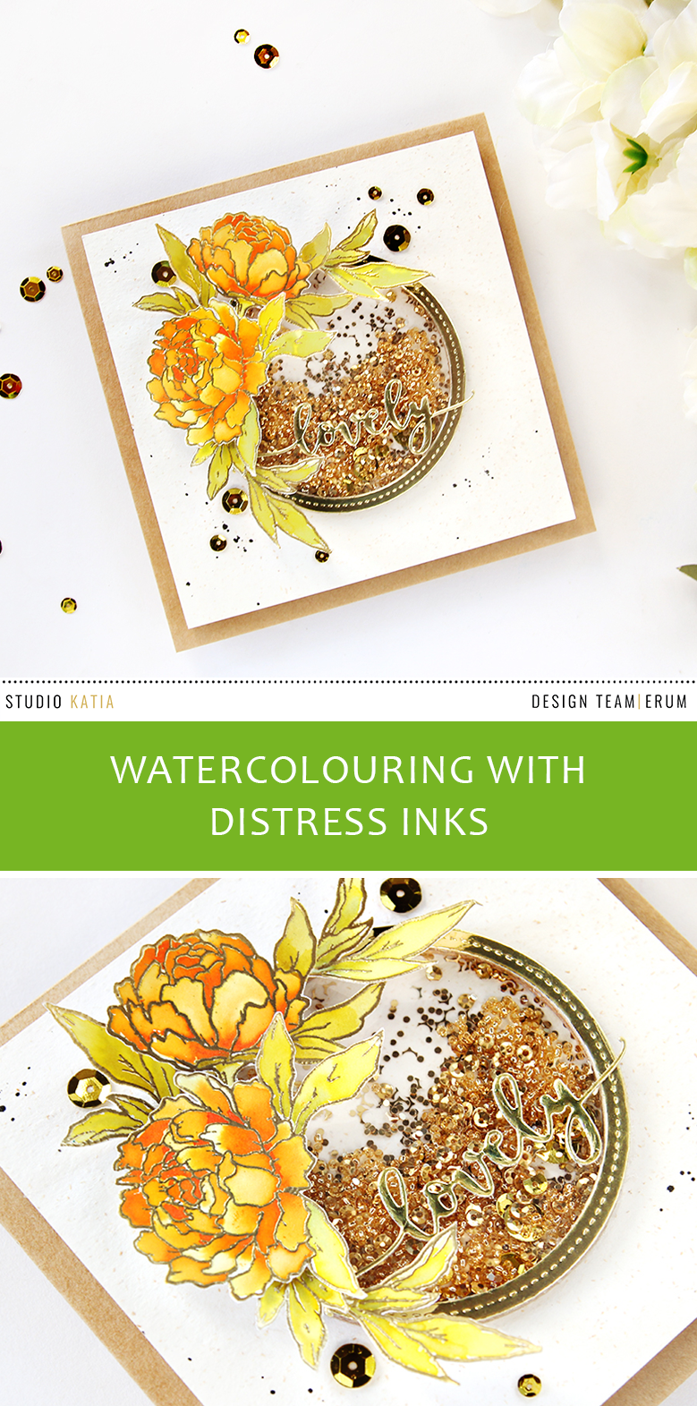 Studio Katia Together We Bloom Stamp Set | Watercoloured with Distress Inks | Erum Tasneem | @pr0digy0