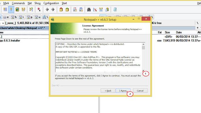 موافقة على شروط و الاحكام البرنامج محرر النصوص Notepad ++