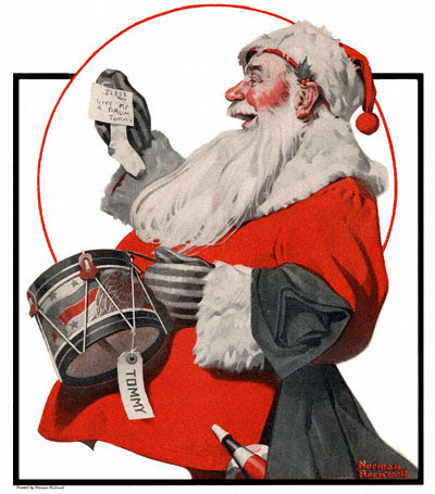 Norman Rockwell painting of jolly Santa Claus holding a letter from Tommy, big sack, and small toy drum