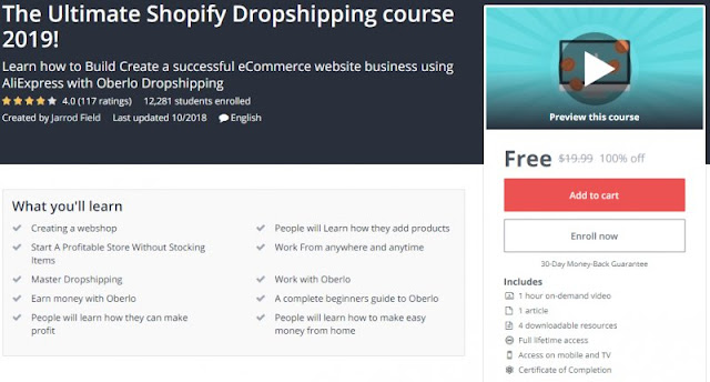 [100% Off] The Ultimate Shopify Dropshipping course 2019!| Worth 19,99$