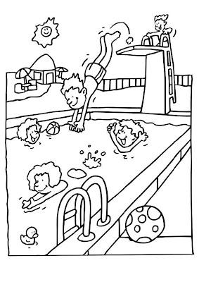 Colorea El Dibujos Niños Jugando En Piscina Para Colorear Y