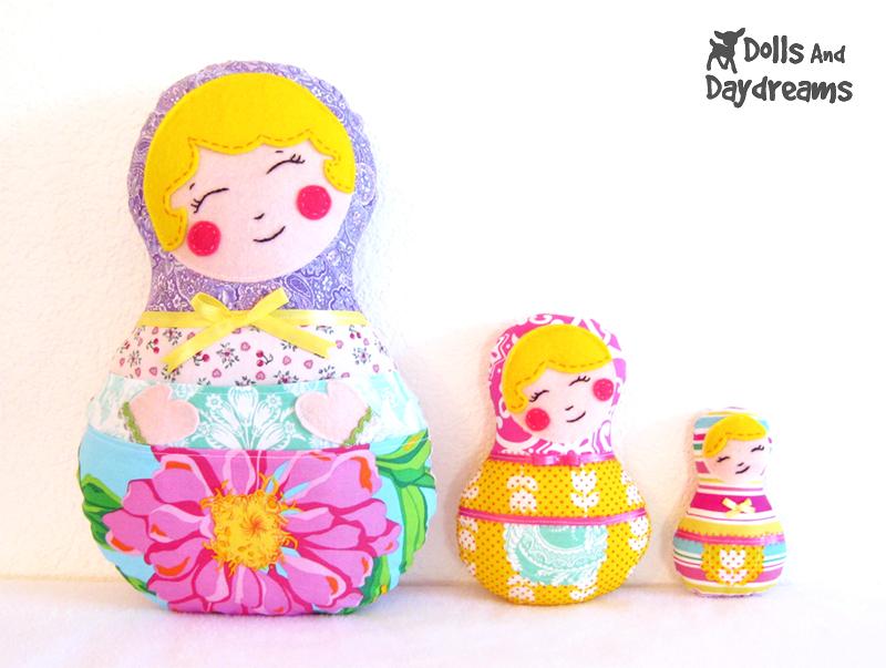 Babushka Matryoshka Set Of 3 Russian Nesting Dolls PDF Sewing Pattern Finished