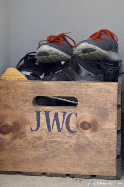 Wooden crate shoe organizing hack - One Mile Home Style