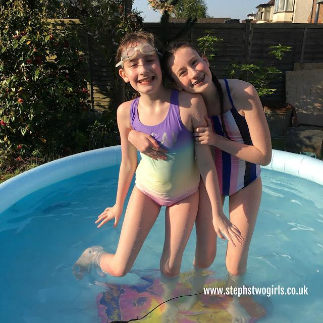 Stephs two girls in pool 2018