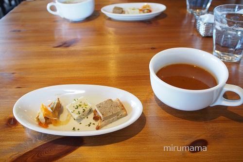 前菜3種盛りとスープ