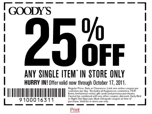 picture regarding Goodys Printable Coupons identify Inside-Retail outlet Printable Discount coupons, Price savings and Specials! Printable
