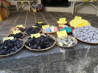 Obsidian and pumice for sale in Lipari.