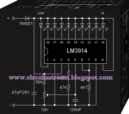 IC LM3914 Battery Monitor Circuit Diagram