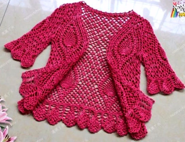 Delicate Pink Crochet Bolero with Full Graph