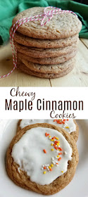 Sink your teeth into a nice chew maple cinnamon cookies.  The warm flavors will dance across your taste buds and put on a smile on your face.  These cookies are perfect for fall and are great on their own or with a bit of glaze.  I'll also show you how to turn them into mummies for Halloween!  They are versatile, timeless and delicious!