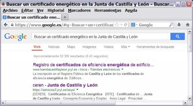 buscar certificado energetico en junta castilla y leon y registro ceren 0