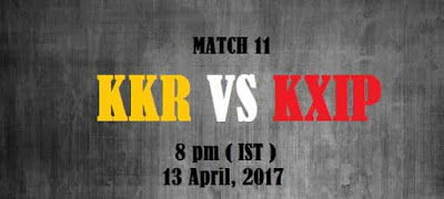 KKR vs KXIP Match 10 IPL 2017