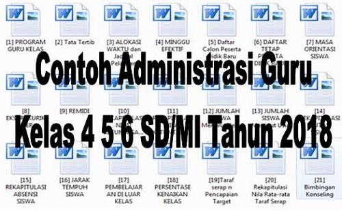 Contoh Administrasi Guru Kelas 4 5 6 SD/MI Tahun 2018