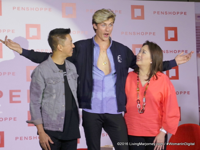 Jeff Bacon, Brand Director for Penshoppe, Lucky Blue Smith and Executive Vice President Alice T. Liu