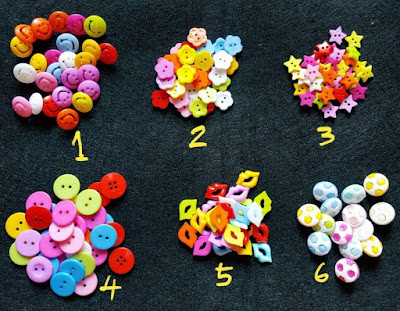Craft Star Button, Ball Button, Kiss Button, Smile Button