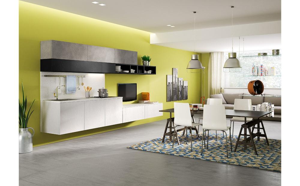 Soggiorno cucina open space living con angolo cottura for Soggiorno angolo cottura