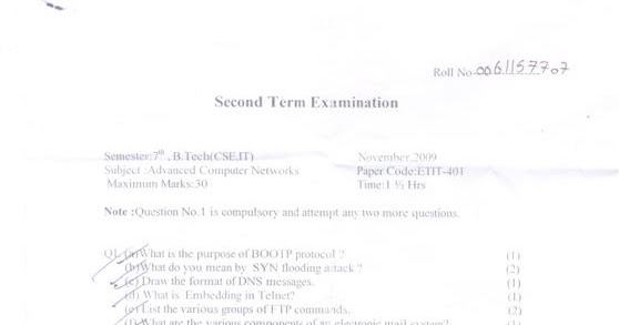 IP University B.Tech 7th semester second sessional papers