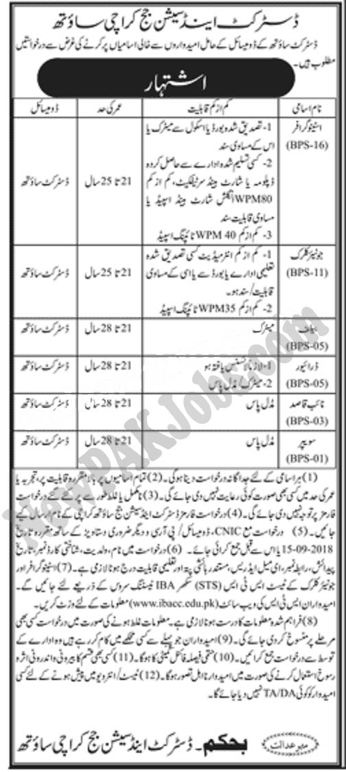 District and Session Courts Karachi South Jobs 2018 - www.ibacc.edu.pk