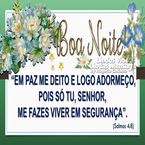 """Boa Noite!  """"EM PAZ ME DEITO E LOGO ADORMEÇO,  POIS SÓ TU, SENHOR,  ME FAZES VIVER EM SEGURANÇA"""".  (Salmos 4:8)"""