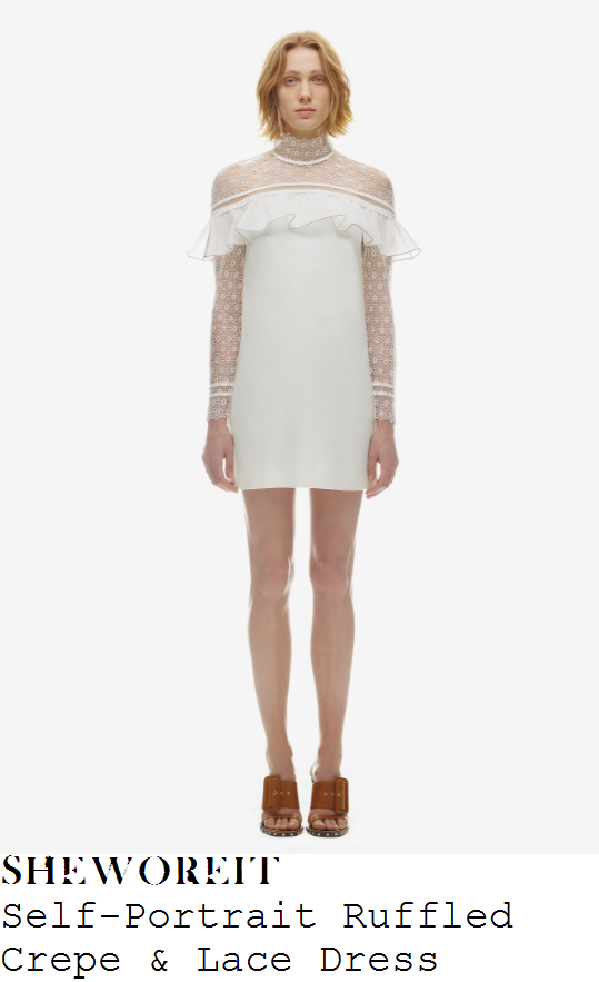 beyonce-self-portrait-white-sheer-floral-lace-long-sleeve-high-neck-ruffle-detail-mini-dress