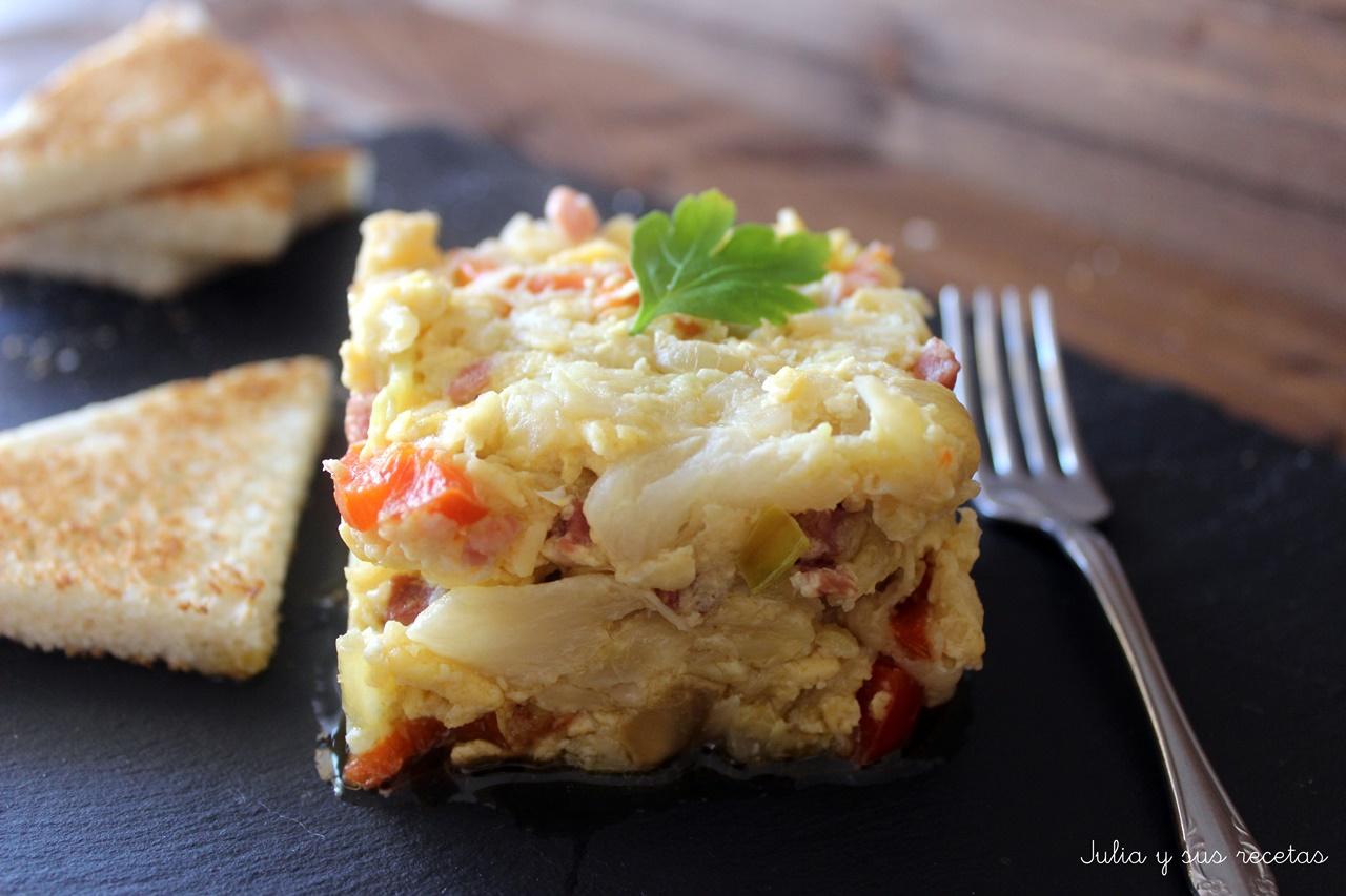 Revuelto de repollo con jam n y pimientos cocina for Como preparar repollo