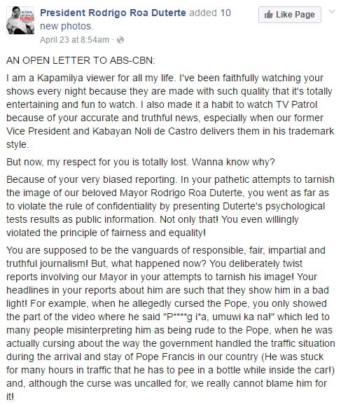 Open letter of a Duterte Supporter allegedly saying that ABS-CBN is Bias!