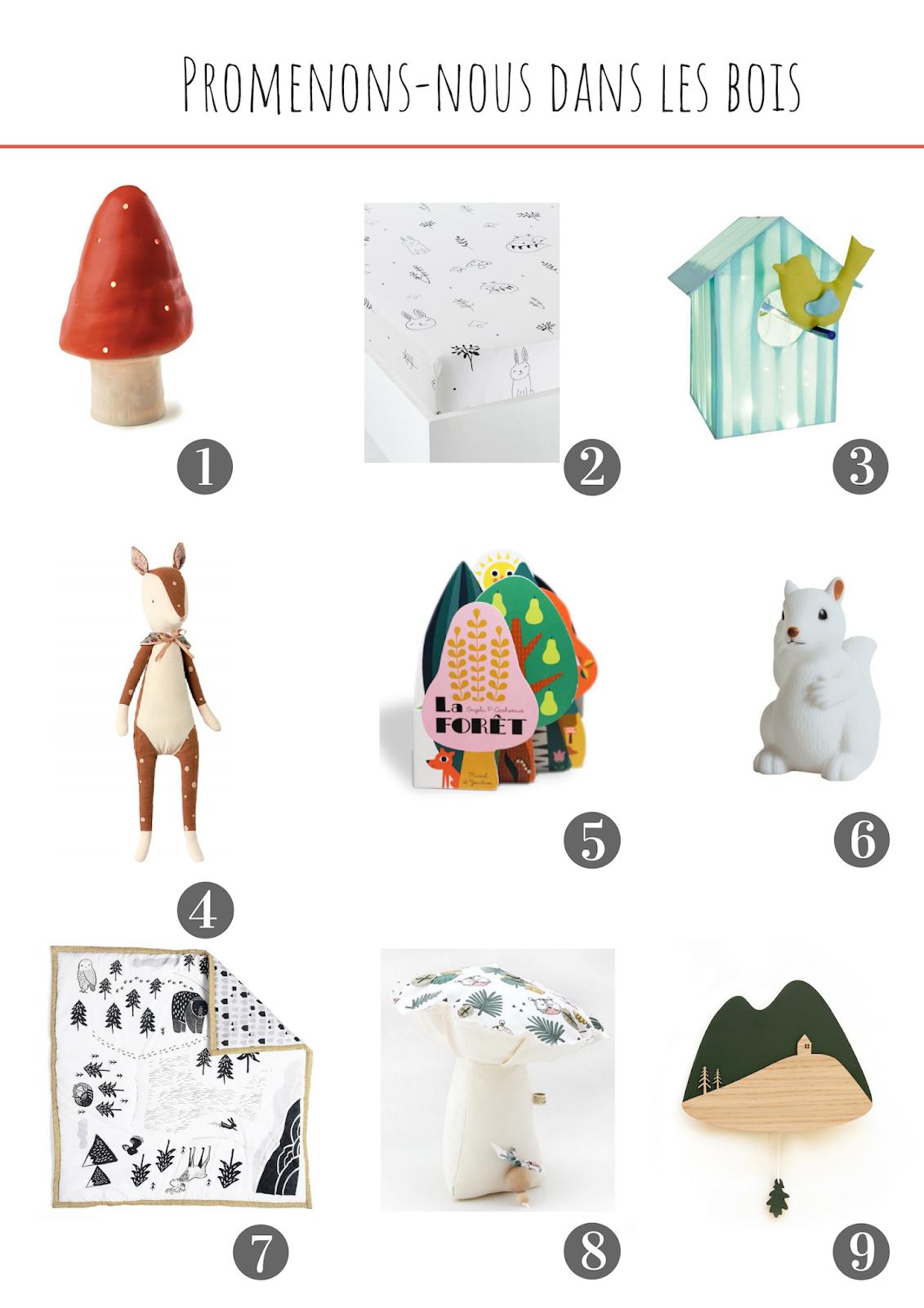selection decoration chambre de bebe promenons nous dans les bois foret champignon animaux