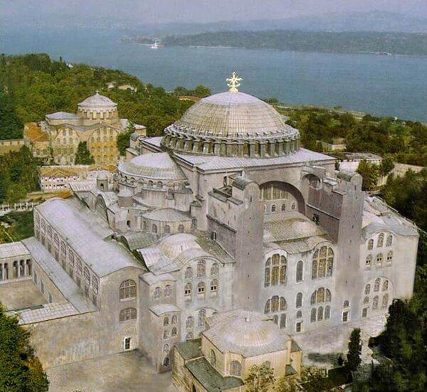 Реконструкция: первоначальный экстерьер храма Божьей Премудрости в Константинополе
