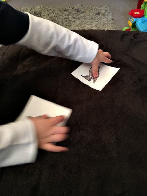 toddler hands picking up two cards