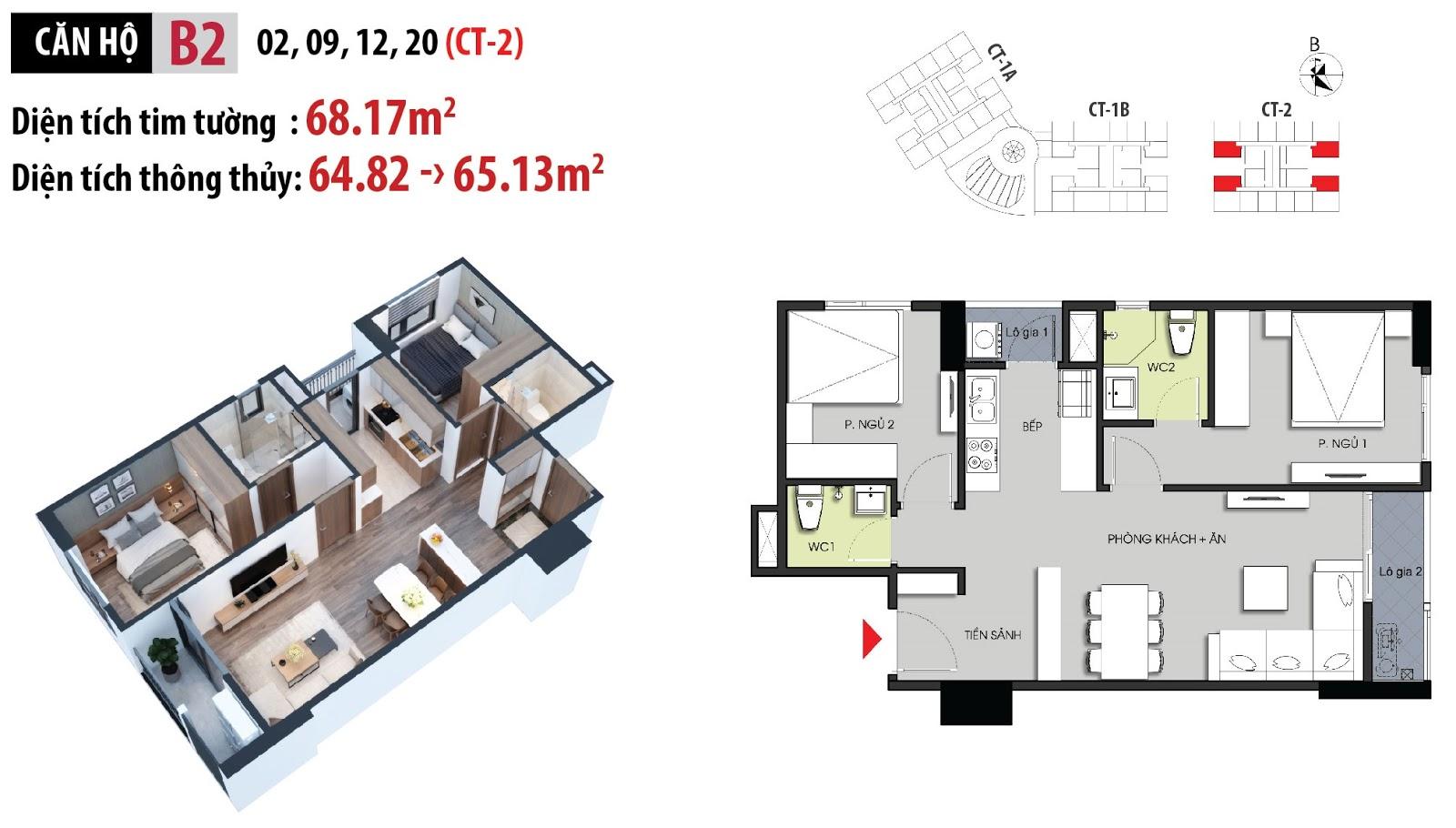 Mặt bằng chi tiết căn hộ số 02 - 09 - 12 - 20 dự án chung cư Hateco Apollo Xuân Phương
