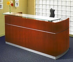 Napoli Reception Desk in Sierra Cherry