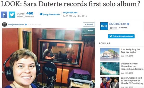 Inquirer violates journalism rule re: Inday Sara's joke — source