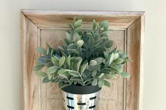 DIY Framed Olive Bucket Planter