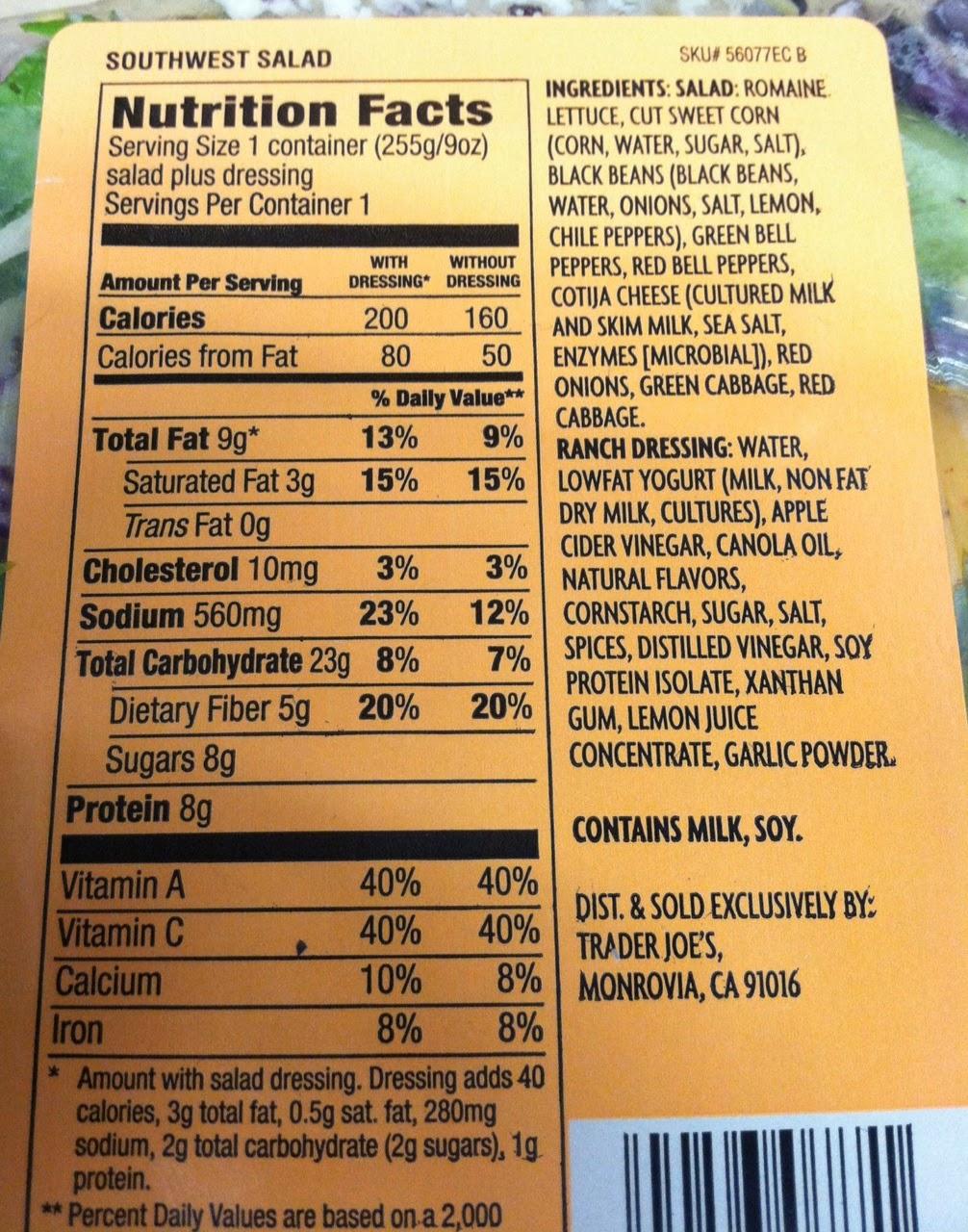Caesar Salad Nutrition Facts Label Nutrition Ftempo