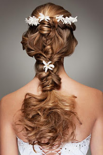K'Mich Weddings - wedding planning - floral crown - hair braided in the back with flowers added