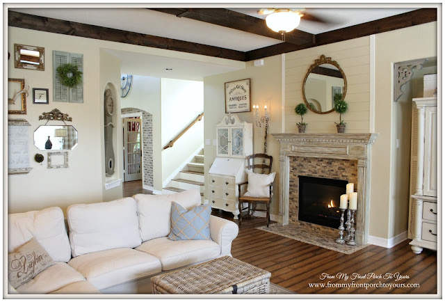 French Country Living Room-Farmhouse Living Room- From My Front Porch To Yours-Wood Beams-