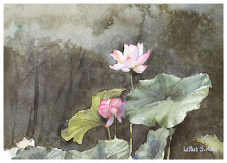 Lotus. Watercolor painting.  蓮の花 水彩画