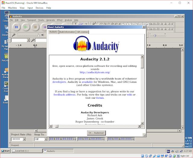 Audacity em execução no ReactOS