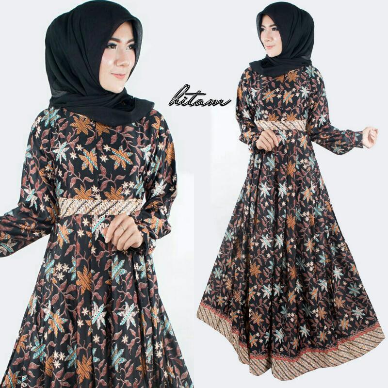 Baju Batik Wanita Model Gamis Semi Sutera Terbaru T2115