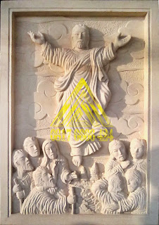batu alam paras jogja atau batu paras putih relief yesus naik surga
