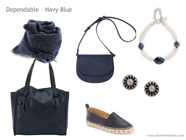 Adding Accessories to a Capsule Wardrobe in 13 color families -  navy blue