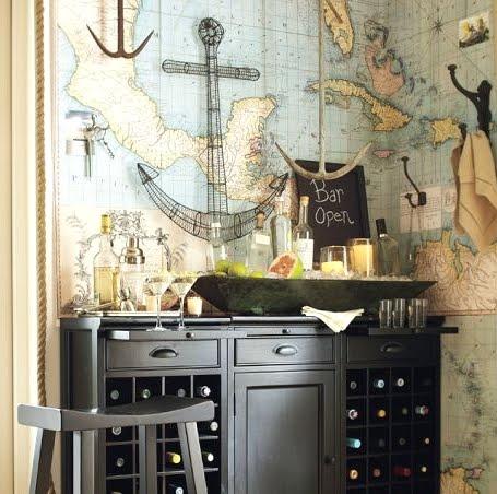 nautical chart wallpaper idea