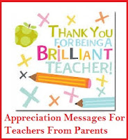 Appreciation Messages and Letters! : Nursery Teachers