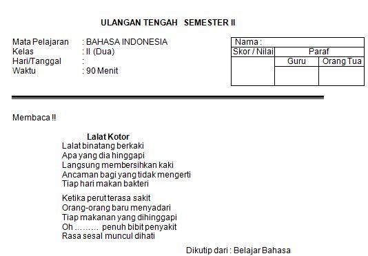 Download Contoh Soal SD/MI Kelas II Mata Pelajaran Bahasa Indonesia Semester 2 Format Microsoft Word