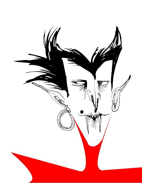 Vampire Ink Cartoon Illustration Block Colour
