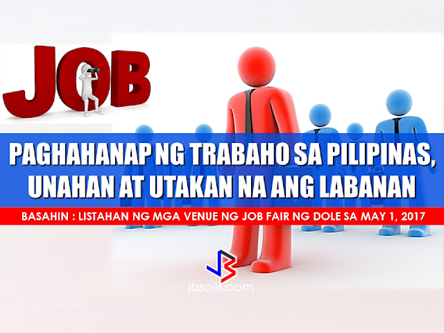 "Lack of job opportunities and low wages are some of the reasons why there are Overseas Filipino Workers. The government fails to generate jobs for thousands of graduates which numbers increase every year. Unemployment rates are rising and finding a job becomes tougher and tougher.  Philjobnet, the official job portal of the government has around 8,000 available jobs but the applicants are about double. For a Filipino to have a job, it will take several months of trying until they can finally get hired. People from the provinces go to Manila for job hunting hoping that they can get lucky enough to be hired. In looking for a job, you need to spend a lot of time and money. Timing is also important. You need to grab the available opportunity at the right time or it will take another month of waiting.  Philjobnet has more than 8,000 jobs available and it changes in real time. Job vacancies that are available at this moment for you may be gone in a few minutes so you need to grab it by the neck and do not let it escape. There are around 19,000 people waiting for a job and if you got it in there first then you have better chances.  In finding a job, procrastinating will bring you nowhere. The competition is stiff and like the popular saying ""strike the iron while it's hot"", you need to do it NOW and waiting is not an option. The unemployment rate in the Philippines as of January is 6.6 percent according to the Labor Force Survey and there is 16.3 percent who are underemployed or those who are not earning according to their skills and specialization. In finding a job nowadays, if you really need a job, you should not consider proximity or salary. What is important is to gain skills and experience that will make your market value higher.  DOLE will have a Job fair this coming May 1 with available 200,000 job vacancies from over 800 employers. Bureau of Local Employment Director Dominique Rubia Tutay said around 200,000 jobs will be available in their Trabaho, Negosyo, Kabuhayan (TNK) fairs in partnership with the Department of Trade and Industry.  Here are the venue of the fairs in different regions:  Metro Manila  Quezon City Hall Fisher Mall, Quezon City Ayala Mall, Muntinlupa City Basketball court behind Parañaque City Hall Vista Mall, Taguig City Robinsons Mall, Las Piñas City Valenzuela Astrodome, Valenzuela City Bonifacio Monument, Manila City Malabon City Hall Pasay City Hall Cordillera Administrative Region  Baguio Convention Center Ilocos Region  Robinsons, Ilocos Norte Robinsons, Lingayen, Pangasinan Cagayan Valley Region Ilagan, Isabela Mall of the Valley, Tuguegarao Central Luzon Region  SM City Baliuag, Bulacan Provincial Old Capitol Freedom Park, Cabanatuan City, Nueva Ecija SM City Clark, Pampanga SM City Downtown and SM City Pampanga, City of San Fernando, Pampanga Metro Town Mall, Sto Cristo, Tarlac City, Tarlac People's Park, Iba, Zambales Southern Tagalog (Calabarzon)  Pacific Mall, Lucena City Centro Mall, Cabuyao Cultural Center, Sta Cruz, Laguna The District Mall, Imus, Cavite Southwestern Tagalog (Mimaropa)  Roxas, Mindoro Oriental Puerto Princesa City, Palawan  Bicol Region Pacific Mall, Legaspi City  Western Visayas Atria, Mandurriao, Iloilo City   Central Visayas  Abellana National Sports Complex, Cebu City Cebu Capitol, Cebu City SM City Cebu, Cebu City Eastern Visayas Leyte Academic Center, Candahug, Palo, Leyte Ormoc City Hall Zamboanga Peninsula  Western Mindanao State University, Normal Road, Baliwasan, Zamboanga City Northern Mindanao  Cagayan de Oro City Ozamis City Iligan City Malaybalay City Davao Region  Gaisano Mall of Davao, JP Laurel Ave., Bajada, Davao City  SOCCSKSARGEN KCC Mall Convention Center, General Santos City CARAGA  Robinsons Place, Butuan City Negros Island Region SM City, Bacolod Reclamation Area, Bacolod City Negros Oriental Convention Center, Dumaguete City   There will also be a job fair in Vista Mall, Balanga City, Bataan, on May 5.   Those living in NHA resettlements in Pandi, Bulacan, may also participate in a special job fair organized from May 9 to 11.  Job seekers are reminded to bring application requirements such as their resumé or curriculum vitae, 2x2 ID pictures, certificates of employment from former employers, diploma, transcript of records, and a certified true copy of birth certificate.  Source: GMA, DOLE  RECOMMENDED: The Technical Education and Skills Development Authority (TESDA) has announced that it is going to give an on-site assessment to overseas Filipino workers (OFWs) who are bound for the Middle East.  Secretary Guiling ""Gene"" Mamondiong, TESDA Director-General said that the Onsite Assessment Program (OAP) aims to find out if the OFWs possess the competencies required in a preferred work.  Mamondiong disclosed that a delegation from TESDA will go to the Middle East to conduct the onsite assessment in coordination with the Philippine Overseas Labor Offices (POLO).  The TESDA onsite assessment is scheduled at Comsofil in Riyadh; POLO, Dubai;  ICSA, Kuwait City and Total Care International in Jeddah. OFWs who are interested in the onsite assessment may visit the POLO in the scheduled areas. Jeddah and Dubai have already submitted a list of assessment candidates, Mamondiong said.  Workers may take the assessment in the following qualifications:   Riyadh:  Technical Drafting NC II;  Visual Graphics Design NC II  and Computer Systems Servicing NC II for    Dubai:  Technical Drafting NC II,  Visual Graphics Design NC III,  Massage Therapy NC II and Caregiving NC II.   Kuwait: Technical Drafting NC II  Visual Graphics Design NC III  Computer Systems Servicing NC II.   Jeddah:  Massage Therapy NC II   Caregiving NC II. The TESDA onsite assessment is scheduled at Comsofil in Riyadh; POLO, Dubai;  ICSA, Kuwait City  and Total Care International in Jeddah.  Poor PGH Patients to Benefit From P100Million Funds From President Rodrigo Duterte Known to be a President with a soft spot for the  poor and those who are in the lace of society, President Rodrigo Duterte has once again proved it when he allocated P100 million to fund the hospitalization of the poor patients at the state-owned Philippine General Hospital (PGH). The President turned over the check to PGH Director Dr. Gerardo Legaspi during a meeting in Malacañang on March 7, 2017.   In a statement released by Radio Television  Network Malacañang, it says that the said fund will be allocated for the underprivileged patients who cannot afford medical procedures and treatments.      The President has shown his soft spot for the poor after giving P2 billion from PAGCOR, to  the Department of Health  to be used for   the free medical assistance to the public.  Present during the meeting with the President were PGH Director Gerardo Legazpi,  Dr. Ireneo Quiron of the PGH Fiscal Services, Deputy Executive Secretary for Finance and Administration Rizalina Justol, and Special Assistant to the President (SAP) Christopher 'Bong' Go.  Recommended:   The President assures that he will bring 250 stranded OFWs from Saudi Arabia with him when he returned to the Philippines after a series of visit in the Middle East. During his speech in Davao before his departure, he said that God-willing, he will bring some OFWs in death row with him when he return to the country. During his speech in front of the Filipino Community in Riyadh , Saudi Arabia, President Duterte said that he will be bringing home the first batch of 250 OFWs who had been stranded in Saudi Arabia for a very long time, and they will continue to do it. ""We are arranging for the transportation of 250 OFWs who hopefully be back to the Philippines in time for the return of President Rodrigo Duterte.., "" DOLE Secretary Silvestre Bello III said. Secretary Bello also added that since the announcement of the Saudi Crown Prince Deputy Prime Minister and the Minister of Interior Prince Mohammed bin Naif Al Saud about the amnesty program for expats, DOLE has already sent an augmentation team to assist the OFWs to comply with the requirements for the amnesty and a lot of them have already availed it. According to Secretary Bello, they are also working on the unpaid claims of the OFWs and they are only validating it in order to establish their claims. If they are all been verified, OWWA will be paying their money claims in advance. President Duterte will also be visiting Bahrain and Qatar after his visit to Saudi Arabia and is expected to be back in the Philippines on April 17. Recommended: ""They've been given the clearance. I will fly them home. When I return, I'll be bringing some of them home, "" he said during a pre-departure press briefing in Davao City. Reports saying that the Embassy officials in Saudi Arabia have been acting slow with regards to helping stranded and runaway OFWs are not entirely correct according to Philippine Consul General Iric Arribas. He also said that the Philippine Embassy in Riyadh and the philippine Consulate in Jeddah are both providing the OFWs all the help they need which includes repatriation as well. 700 OFWs have been in jails in Saudi Arabia for various charges because there are no assistance coming from the Embassy officials, according to the reports from various OFW advocates. The OFWs are the reason why President Rodrigo Duterte is pushing through with the campaign on illegal drugs, acknowledging their hardships and sacrifices. He said that as he visit the countries where there are OFWs, he has heard sad stories about them: sexually abused Filipinas,domestic helpers being forced to work on a number of employers. ""I have been to many places. I have been to the Middle East. You know, the husband is working in one place, the wife in another country. The so many sad stories I hear about our women being raped, abused sexually,"" The President said. About Filipino domestic helpers, he said: ""If you are working on a family and the employer's sibling doesn't have a helper, you will also work for them. And if in a compound,the son-in-law of the employer is also living in there, you will also work for him.So, they would finish their work on sunrise."" He even refer to the OFWs being similar to the African slaves because of the situation that they have been into for the sake of their families back home. Citing instances that some of them, out of deep despair, resorted to ending their own lives. The President also said that he finds it heartbreaking to know that after all the sacrifices of the OFWs working abroad for the future of their families they would come home just to learn that their children has been into illegal drugs. ""I made no bones about my hatred. I said, 'If you do drugs in my city, if you destroy our daughters and sons, I'll just have to kill you.' I repeated the same warning when i became president,"" he said. Critics of the so-called violent war on drugs under President Duterte's administration includes local and international human rights groups, linking the campaign on thousands of drug-related killings. Police figures show that legitimate police operations have led to over 2,600 deaths of individuals involved in drugs since the war on drugs began. However, the war on drugs has been evident that the extent of drug menace should be taken seriously. The drug personalities includes high ranking officials and they thrive in the expense of our own children,if not being into drugs, being victimized by drug related crimes. The campaign on illegal drugs has somehow made a statement among the drug pushers and addicts. If the common citizen fear walking on the streets at night worrying about the drug addicts lurking in the dark, now they can walk peacefully while the drug addicts hide in fear that the police authorities might get them. Source:GMA {INSERT ALL PARAGRAPHS HERE {EMBED 3 FB PAGES POST FROM JBSOLIS/THOUGHTSKOTO/PEBA HERE OR INSERT 3 LINKS} ©2017 THOUGHTSKOTO www.jbsolis.com SEARCH JBSOLIS The OFWs are the reason why President Rodrigo Duterte is pushing through with the campaign on illegal drugs, acknowledging their hardships and sacrifices. He said that as he visit the countries where there are OFWs, he has heard sad stories about them: sexually abused Filipinas,domestic helpers being forced to work on a number of employers. ©2017 THOUGHTSKOTO www.jbsolis.com SEARCH JBSOLIS  ""They've been given the clearance. I will fly them home. When I return, I'll be bringing some of them home, "" he said during a pre-departure press briefing in Davao City. The President assures that he will bring 250 stranded OFWs from Saudi Arabia with him when he returned to the Philippines after a series of visit in the Middle East. During his speech in Davao before his departure, he said that God-willing, he will bring some OFWs in death row with him when he return to the country. During his speech in front of the Filipino Community in Riyadh , Saudi Arabia, President Duterte said that he will be bringing home the first batch of 250 OFWs who had been stranded in Saudi Arabia for a very long time, and they will continue to do it. ""We are arranging for the transportation of 250 OFWs who hopefully be back to the Philippines in time for the return of President Rodrigo Duterte.., "" DOLE Secretary Silvestre Bello III said. Secretary Bello also added that since the announcement of the Saudi Crown Prince Deputy Prime Minister and the Minister of Interior Prince Mohammed bin Naif Al Saud about the amnesty program for expats, DOLE has already sent an augmentation team to assist the OFWs to comply with the requirements for the amnesty and a lot of them have already availed it. According to Secretary Bello, they are also working on the unpaid claims of the OFWs and they are only validating it in order to establish their claims. If they are all been verified, OWWA will be paying their money claims in advance. President Duterte will also be visiting Bahrain and Qatar after his visit to Saudi Arabia and is expected to be back in the Philippines on April 17. Recommended: ""They've been given the clearance. I will fly them home. When I return, I'll be bringing some of them home, "" he said during a pre-departure press briefing in Davao City. Reports saying that the Embassy officials in Saudi Arabia have been acting slow with regards to helping stranded and runaway OFWs are not entirely correct according to Philippine Consul General Iric Arribas. He also said that the Philippine Embassy in Riyadh and the philippine Consulate in Jeddah are both providing the OFWs all the help they need which includes repatriation as well. 700 OFWs have been in jails in Saudi Arabia for various charges because there are no assistance coming from the Embassy officials, according to the reports from various OFW advocates. The OFWs are the reason why President Rodrigo Duterte is pushing through with the campaign on illegal drugs, acknowledging their hardships and sacrifices. He said that as he visit the countries where there are OFWs, he has heard sad stories about them: sexually abused Filipinas,domestic helpers being forced to work on a number of employers. ""I have been to many places. I have been to the Middle East. You know, the husband is working in one place, the wife in another country. The so many sad stories I hear about our women being raped, abused sexually,"" The President said. About Filipino domestic helpers, he said: ""If you are working on a family and the employer's sibling doesn't have a helper, you will also work for them. And if in a compound,the son-in-law of the employer is also living in there, you will also work for him.So, they would finish their work on sunrise."" He even refer to the OFWs being similar to the African slaves because of the situation that they have been into for the sake of their families back home. Citing instances that some of them, out of deep despair, resorted to ending their own lives. The President also said that he finds it heartbreaking to know that after all the sacrifices of the OFWs working abroad for the future of their families they would come home just to learn that their children has been into illegal drugs. ""I made no bones about my hatred. I said, 'If you do drugs in my city, if you destroy our daughters and sons, I'll just have to kill you.' I repeated the same warning when i became president,"" he said. Critics of the so-called violent war on drugs under President Duterte's administration includes local and international human rights groups, linking the campaign on thousands of drug-related killings. Police figures show that legitimate police operations have led to over 2,600 deaths of individuals involved in drugs since the war on drugs began. However, the war on drugs has been evident that the extent of drug menace should be taken seriously. The drug personalities includes high ranking officials and they thrive in the expense of our own children,if not being into drugs, being victimized by drug related crimes. The campaign on illegal drugs has somehow made a statement among the drug pushers and addicts. If the common citizen fear walking on the streets at night worrying about the drug addicts lurking in the dark, now they can walk peacefully while the drug addicts hide in fear that the police authorities might get them. Source:GMA {INSERT ALL PARAGRAPHS HERE {EMBED 3 FB PAGES POST FROM JBSOLIS/THOUGHTSKOTO/PEBA HERE OR INSERT 3 LINKS} ©2017 THOUGHTSKOTO www.jbsolis.com SEARCH JBSOLIS The OFWs are the reason why President Rodrigo Duterte is pushing through with the campaign on illegal drugs, acknowledging their hardships and sacrifices. He said that as he visit the countries where there are OFWs, he has heard sad stories about them: sexually abused Filipinas,domestic helpers being forced to work on a number of employers. ©2017 THOUGHTSKOTO www.jbsolis.com SEARCH JBSOLIS  Reports saying that the Embassy officials in Saudi Arabia have been acting slow with regards to helping stranded and runaway OFWs are not entirely correct according to Philippine Consul General Iric Arribas.  He also said that the Philippine Embassy in Riyadh and  the philippine Consulate in Jeddah are both providing the OFWs all the help they need which includes repatriation as well.   700 OFWs have been in jails in Saudi Arabia for various charges because there are no assistance coming from the Embassy officials, according to the reports from various OFW advocates.     The OFWs are the reason why President Rodrigo Duterte is pushing through with the campaign on illegal drugs, acknowledging their hardships and sacrifices. He said that as he visit the countries where there are OFWs, he has heard sad stories about them: sexually abused Filipinas,domestic helpers being forced to work on a number of employers. ""I have been to many places. I have been to the Middle East. You know, the husband is working in one place, the wife in another country. The so many sad stories I hear about our women being raped, abused sexually,"" The President said. About Filipino domestic helpers, he said: ""If you are working on a family and the employer's sibling doesn't have a helper, you will also work for them. And if in a compound,the son-in-law of the employer is also living in there, you will also work for him.So, they would finish their work on sunrise."" He even refer to the OFWs being similar to the African slaves because of the situation that they have been into for the sake of their families back home. Citing instances that some of them, out of deep despair, resorted to ending their own lives. The President also said that he finds it heartbreaking to know that after all the sacrifices of the OFWs working abroad for the future of their families they would come home just to learn that their children has been into illegal drugs. ""I made no bones about my hatred. I said, 'If you do drugs in my city, if you destroy our daughters and sons, I'll just have to kill you.' I repeated the same warning when i became president,"" he said. Critics of the so-called violent war on drugs under President Duterte's administration includes local and international human rights groups, linking the campaign on thousands of drug-related killings. Police figures show that legitimate police operations have led to over 2,600 deaths of individuals involved in drugs since the war on drugs began. However, the war on drugs has been evident that the extent of drug menace should be taken seriously. The drug personalities includes high ranking officials and they thrive in the expense of our own children,if not being into drugs, being victimized by drug related crimes. The campaign on illegal drugs has somehow made a statement among the drug pushers and addicts. If the common citizen fear walking on the streets at night worrying about the drug addicts lurking in the dark, now they can walk peacefully while the drug addicts hide in fear that the police authorities might get them. Source:GMA {INSERT ALL PARAGRAPHS HERE {EMBED 3 FB PAGES POST FROM JBSOLIS/THOUGHTSKOTO/PEBA HERE OR INSERT 3 LINKS} ©2017 THOUGHTSKOTO www.jbsolis.com SEARCH JBSOLIS  The OFWs are the reason why President Rodrigo Duterte is pushing through with the campaign on illegal drugs, acknowledging their hardships and sacrifices.  He said that as he visit the countries where there are OFWs, he has heard sad stories about them: sexually abused Filipinas,domestic helpers being forced to work on a number of employers   ©2017 THOUGHTSKOTO  www.jbsolis.com  SEARCH JBSOLIS     ©2017 THOUGHTSKOTO www.jbsolis.com SEARCH JBSOLIS"