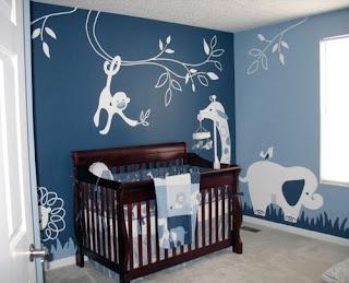 Habitación azul para bebè