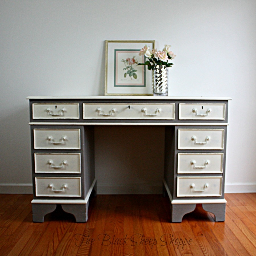 Desk painted in French Linen and Old White.
